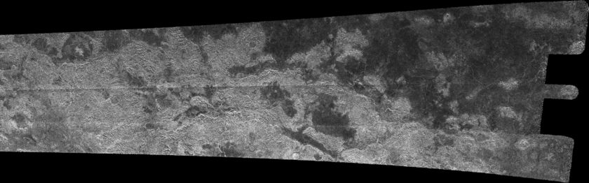 Cassini RADAR swath on Titan, flyby T13, April 30, 2006 (right section)