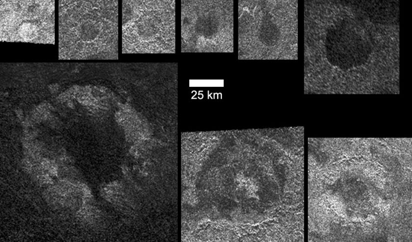 Quasi-circular features in the Titan-13 RADAR swath