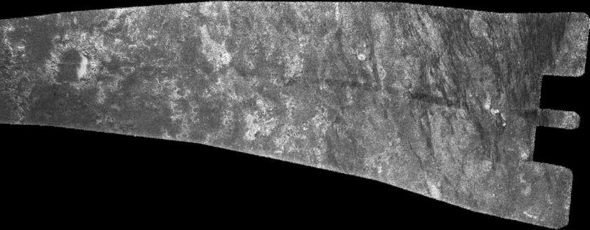 Cassini RADAR swath on Titan, flyby T16, July 22, 2006 (section 5 of 5)
