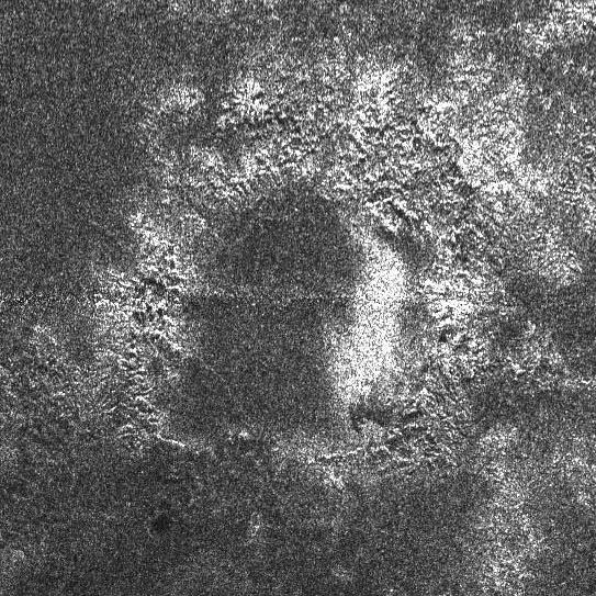Circular feature in T16 RADAR swath on Titan (east)