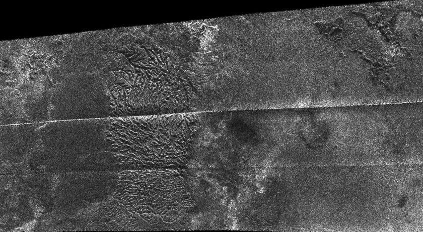 Dissected terrain in T16 RADAR swath on Titan