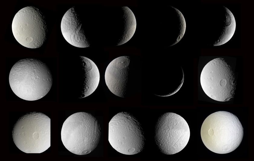 Many Cassini views of Tethys