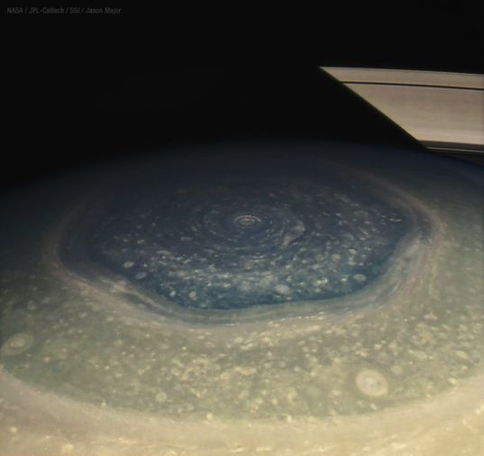 Saturn's north polar hexagon: narrow view