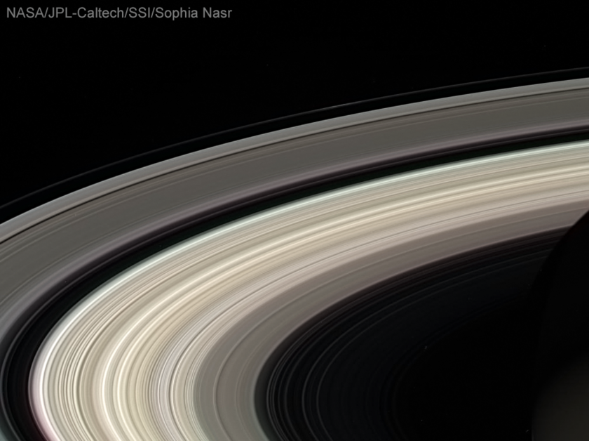 Saturn silhouette with rings from Cassini