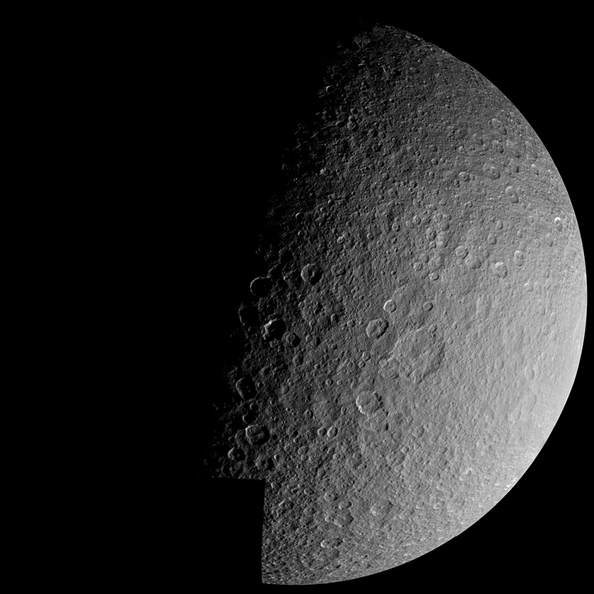 Voyager 1 mosaic of Rhea