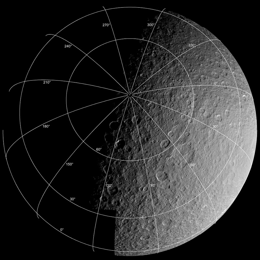 Voyager 1 mosaic of Rhea with superimposed coordinate grid