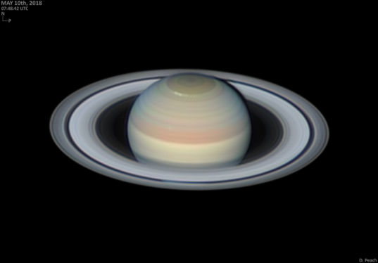Saturn with a polar storm, 10 May 2018