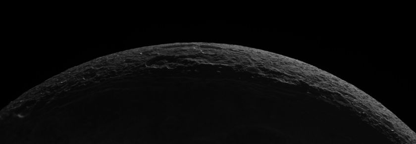 High-Resolution Mosaic of Crescent Dione, 11 October 2005