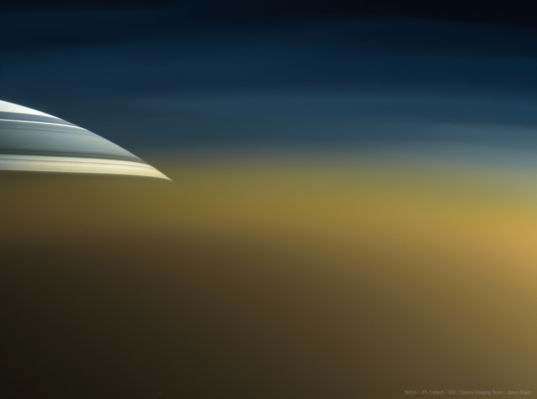 Saturn through Titan's atmosphere