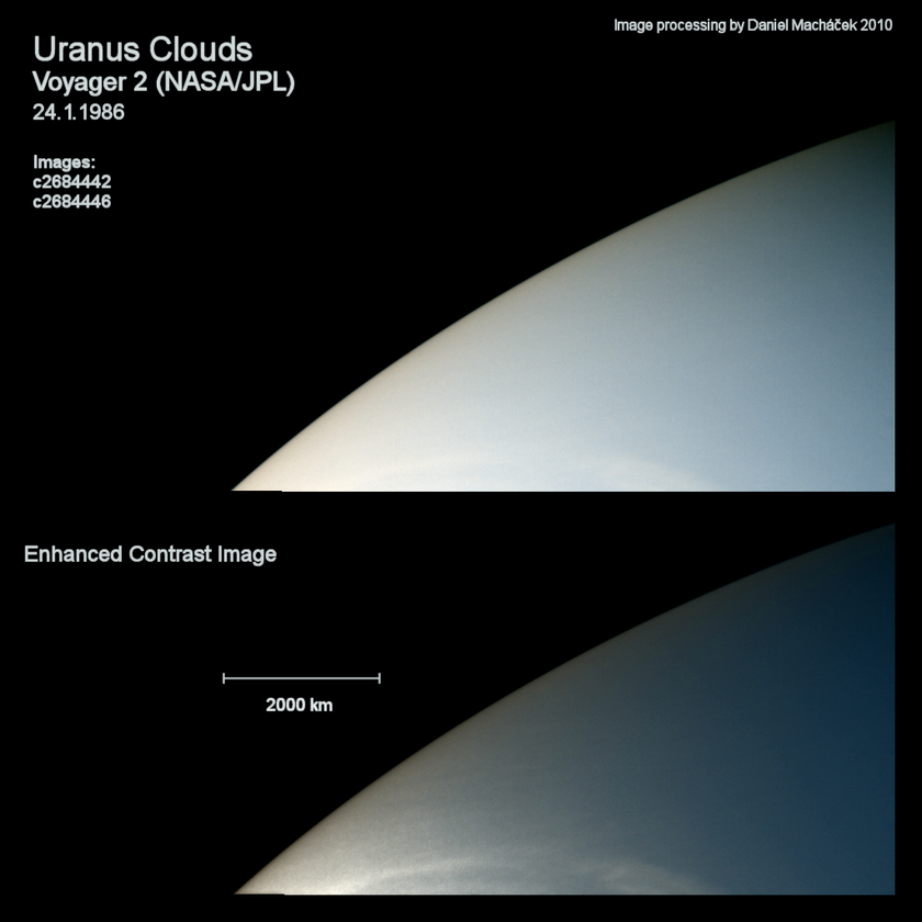 Cloud features revealed in Voyager 2 Uranus images