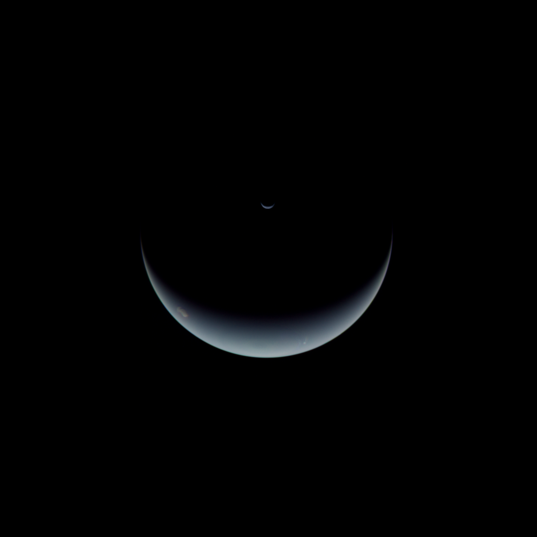Crescent Triton Over Neptune