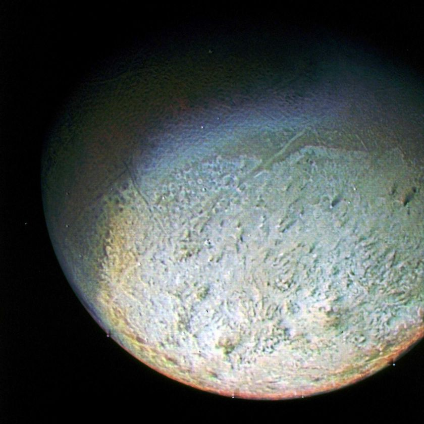 Voyager 2 image of Neptune's moon Triton