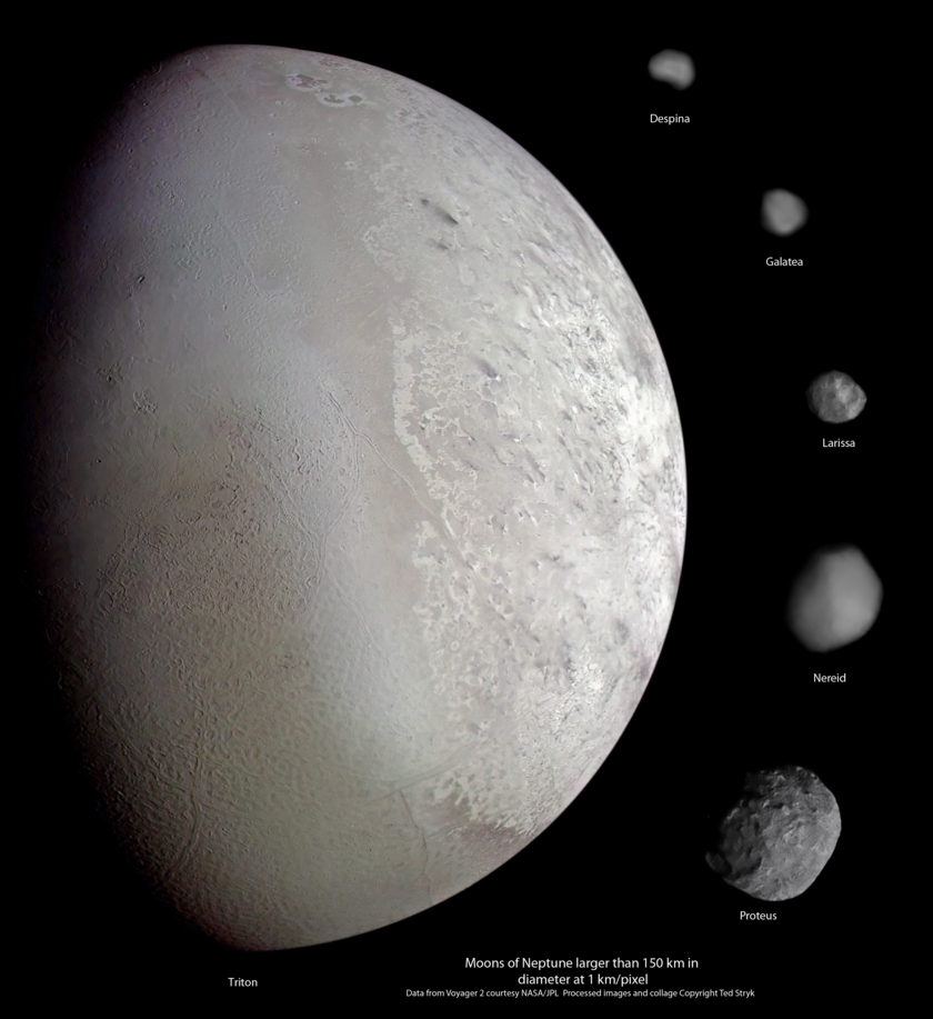 High-resolution views of Neptune's moons from Voyager 2