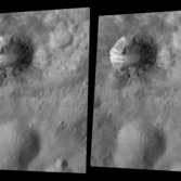 Cornelia crater, Vesta, in stereo (crossed-eye stereo)