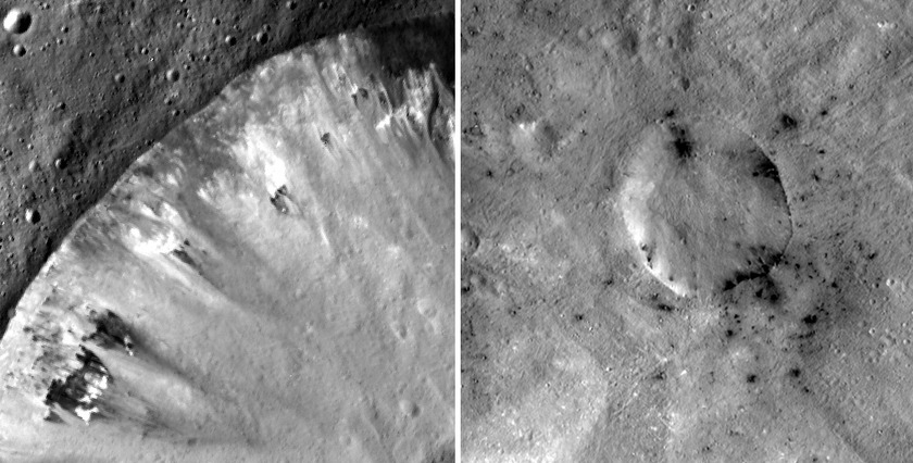 Dark Crater Rims on Vesta