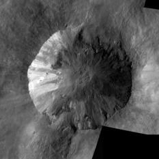Mosaic of Low-Altitude Mapping Orbit images of Cornelia crater, Vesta