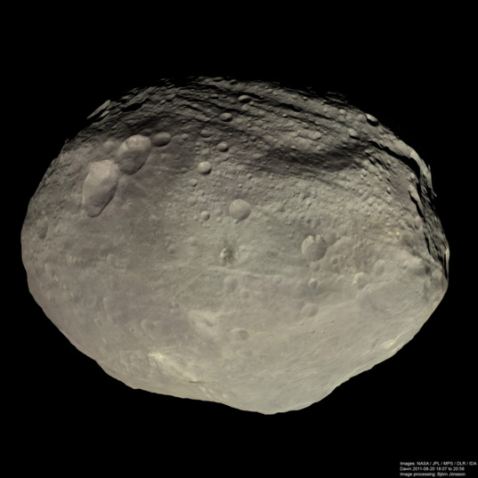 High-resolution global view of Vesta in natural color processed from archival data