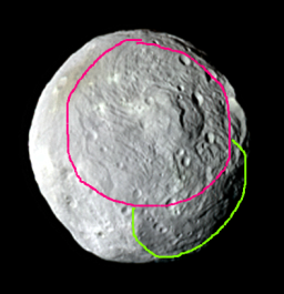 A cartoon of Vesta's two basins