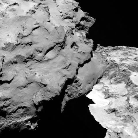 OSIRIS image of Churyumov-Gerasimenko taken upon arrival (detail 1)