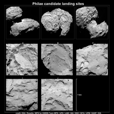 Five possible landing sites for Philae