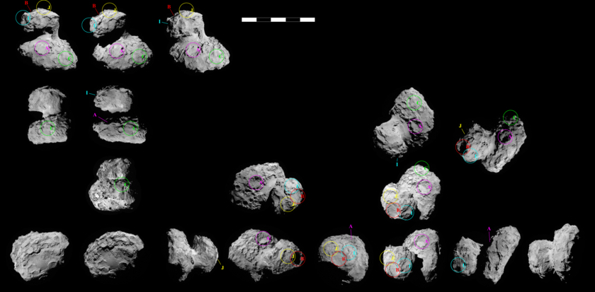 Possible landing sites for Philae on NavCam images of Churyumov-Gerasimenko