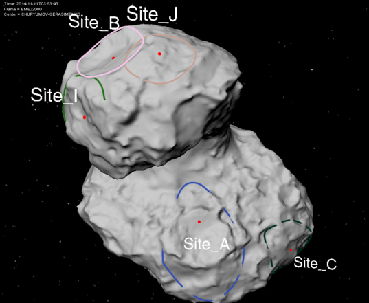 Five possible landing sites for Philae (shape model)