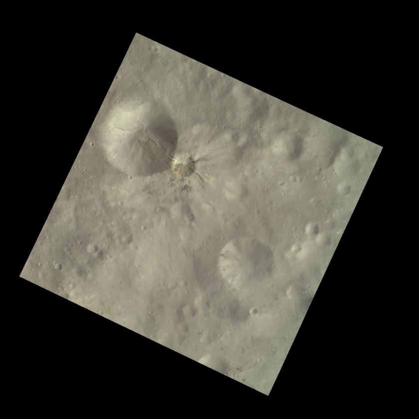 Aelia crater, Vesta (HAMO color image)