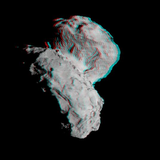 Synthetic 3D view of Churyumov-Gerasimenko from August 22, 2014 image