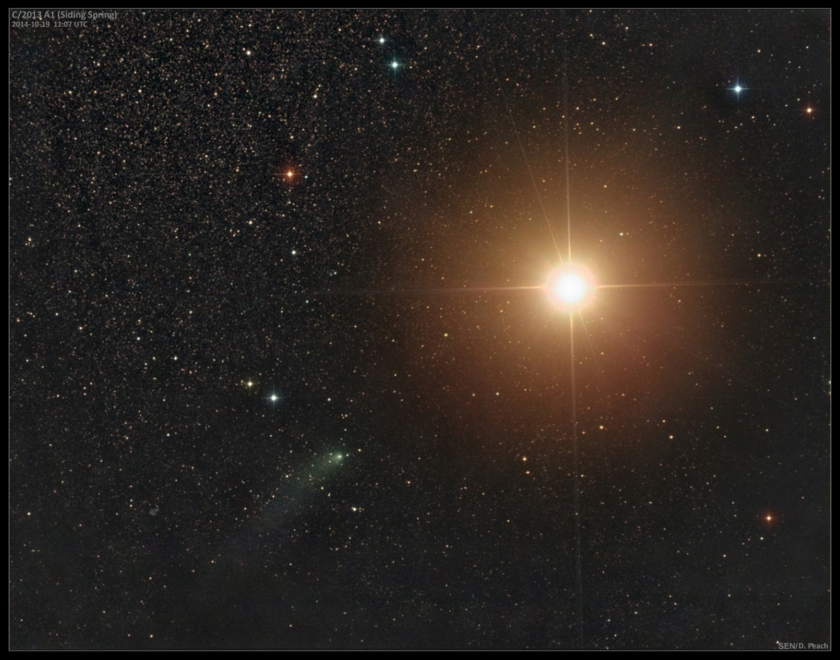 Comet Siding Spring just hours before its close approach to Mars (Damian Peach)