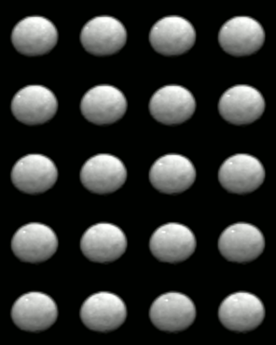 Montage of Dawn Ceres optical navigation images taken January 13, 2015