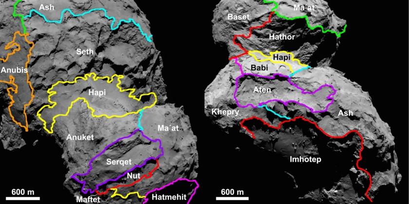 Map of comet Churyumov-Gerasimenko regions (alternative views)