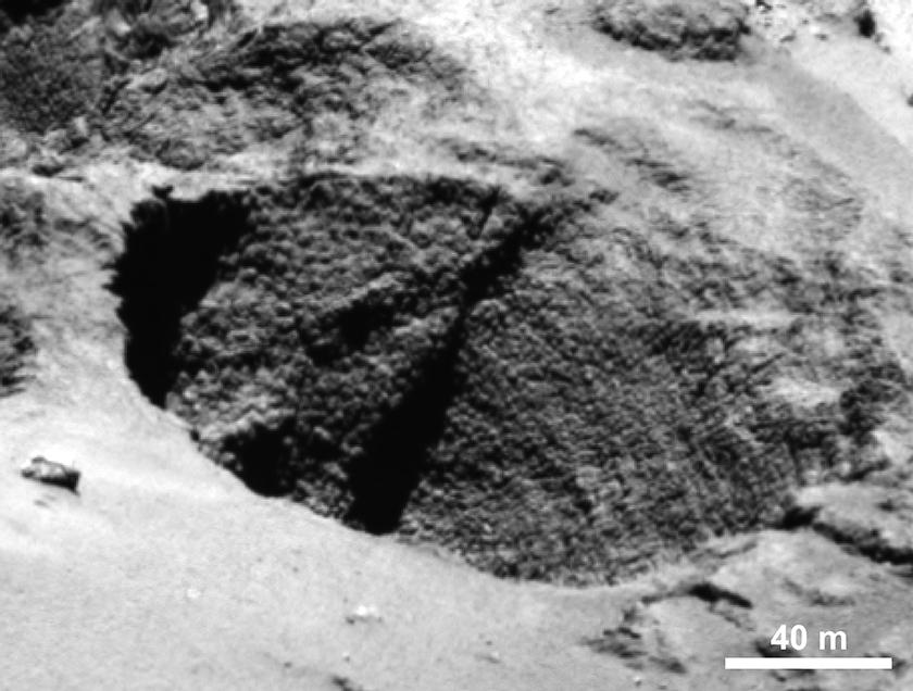 Dinosaur eggs or goosebumps in a comet pit