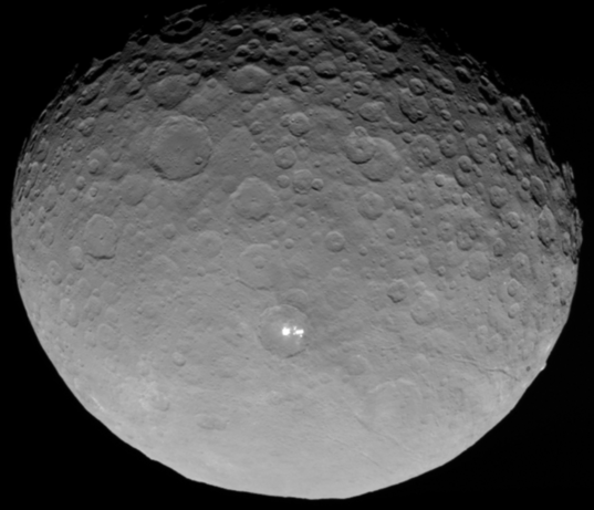 A still from the recently released rotation movie of ice-rich Ceres