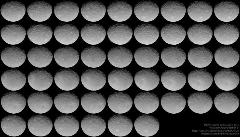 51 views of Ceres, Dawn Rotation Characterization 3, May 4, 2015