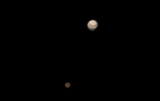 Pluto and Charon in color: LORRI + MVIC, June 21, 2015