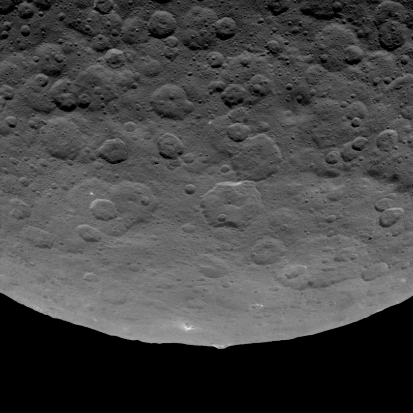 Conical mountain on Ceres (limb view)