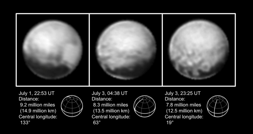 Three views of Pluto, July 1-3, 2015