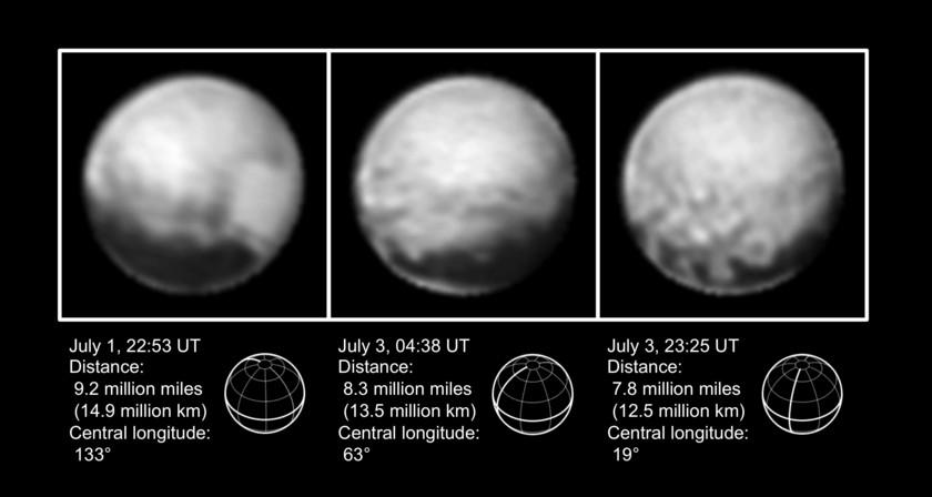 Three views of Pluto, July 1-3, 2015