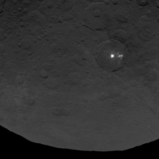 Occator crater, a bright spot on a dark world