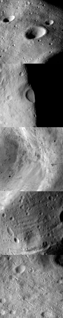Five detail images cropped from Rosetta's Lutetia views