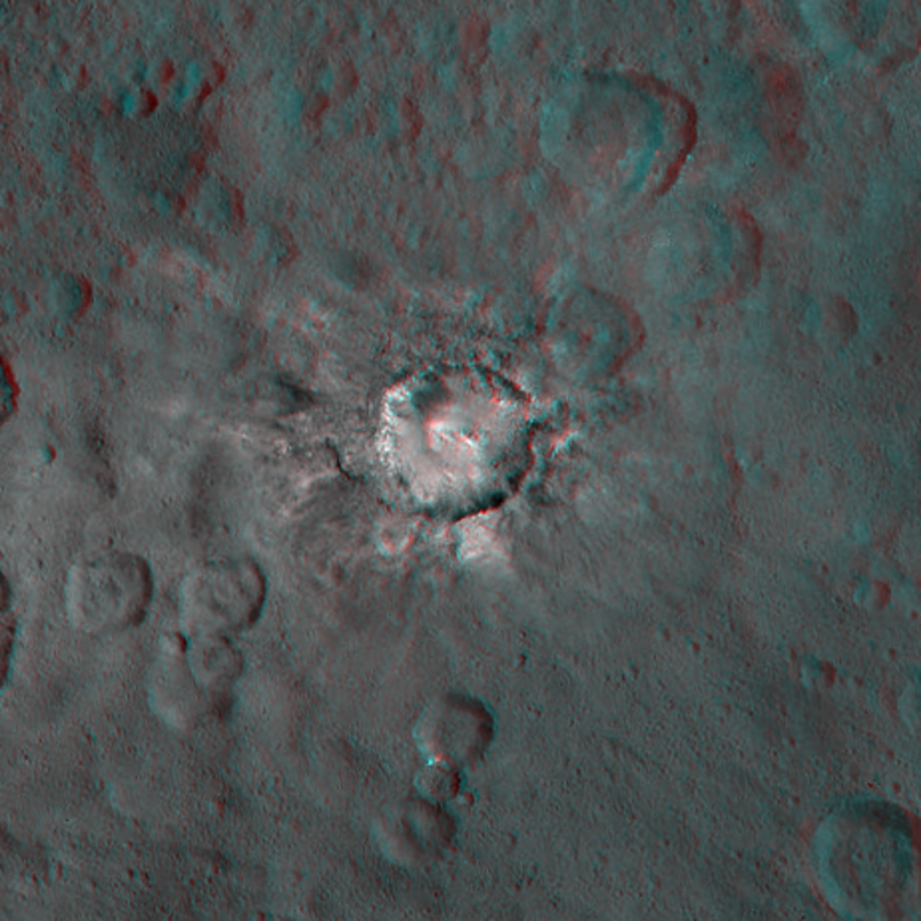 Haulani crater, Ceres, in 3D
