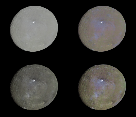 Four color views of Ceres