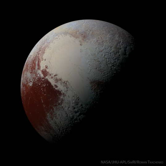 Simulated view of a half-phase Pluto