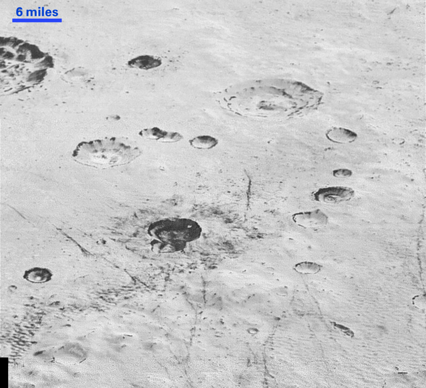 Pluto's layered craters and icy plains