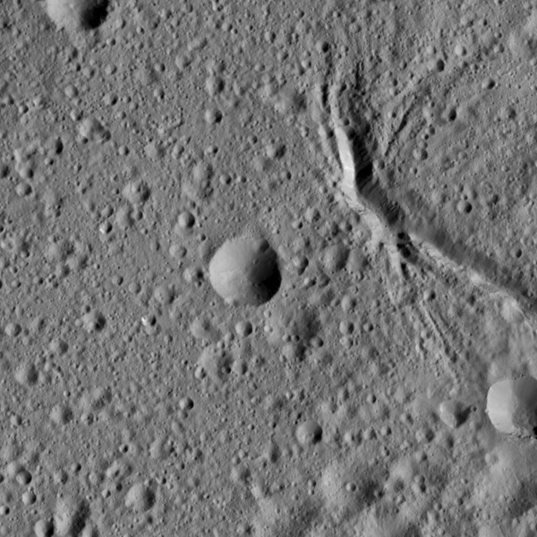 Canyons in Ezinu Crater