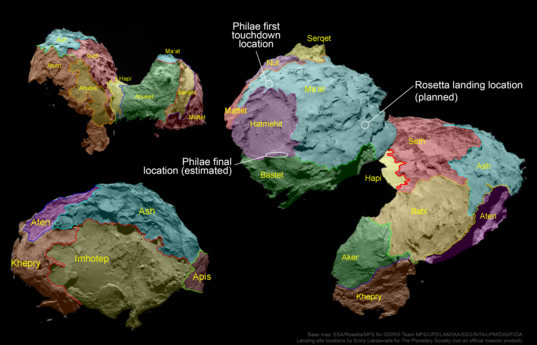 Map of comet Churyumov-Gerasimenko regions with landing locations