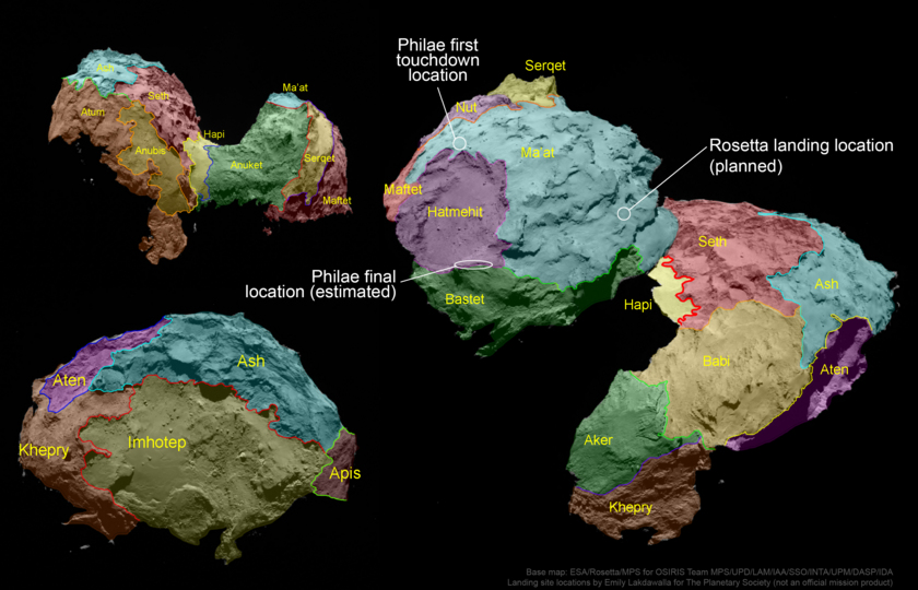 Map of comet Churyumov-Gerasimenko regions with landing locations