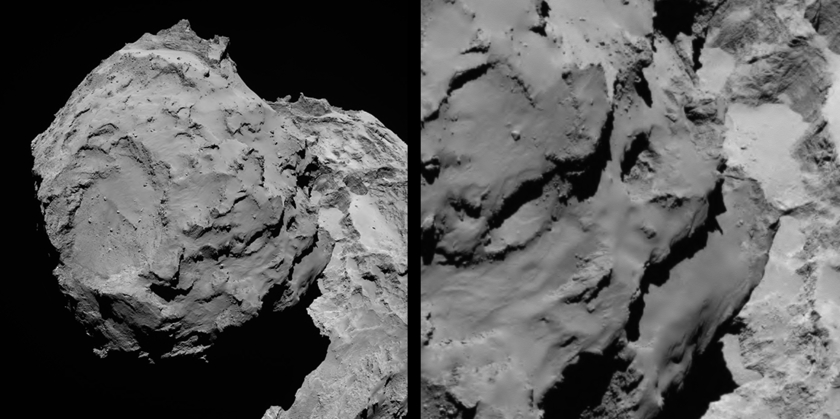 Views of the Rosetta landing site onto pit walls