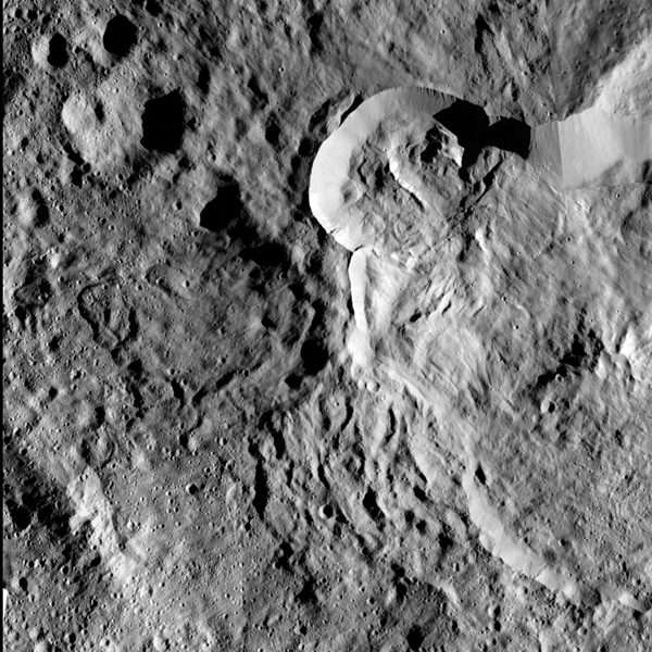 Impact into the rim of Datan Crater