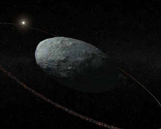 Haumea with a ring (artist's rendering)